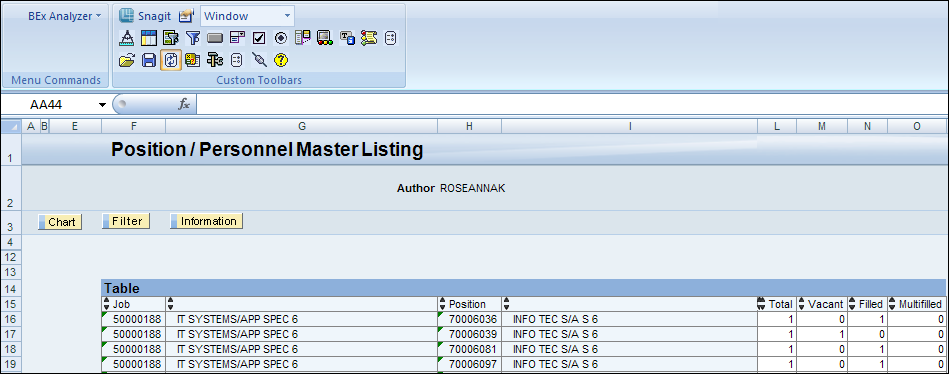 BEx Query Analyzer Overview BEx Query Analyzer uses MS Excel to display query results. From MS Excel, users can sort, filter, drillup or drilldown on ad hoc query results.