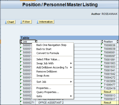 BEx Query Analyzer Overview The Context Menu for query results can be opened using right mouse-click on an