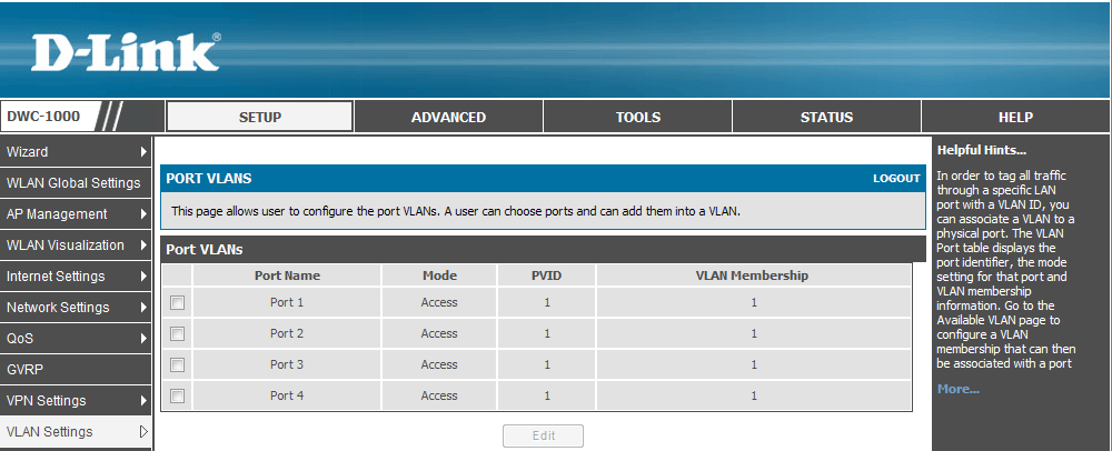 How to Configure the AP Profile on the DWC-1000 3 Configuration steps 1. Create VLANs. Navigate to SETUP> VLAN Settings> Available VLAN. Click Add.
