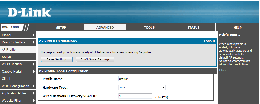 How to Configure the AP Profile on the DWC-1000 6 Set VLAN 2 to be associated with this SSID.
