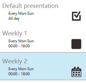 3.9.3 Schedule priority Default presentation is the initial schedule which is defaulted to play 24/7.It has lowest priority, will be surpass whenever there are overlapping with other schedule.
