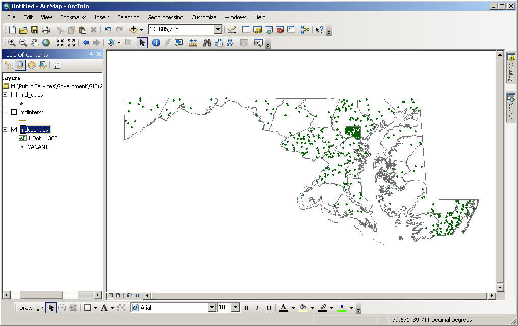 Mapping by Quantity: Dot Maps Let s analyze a different attribute using another type of map the dot or dot density map.