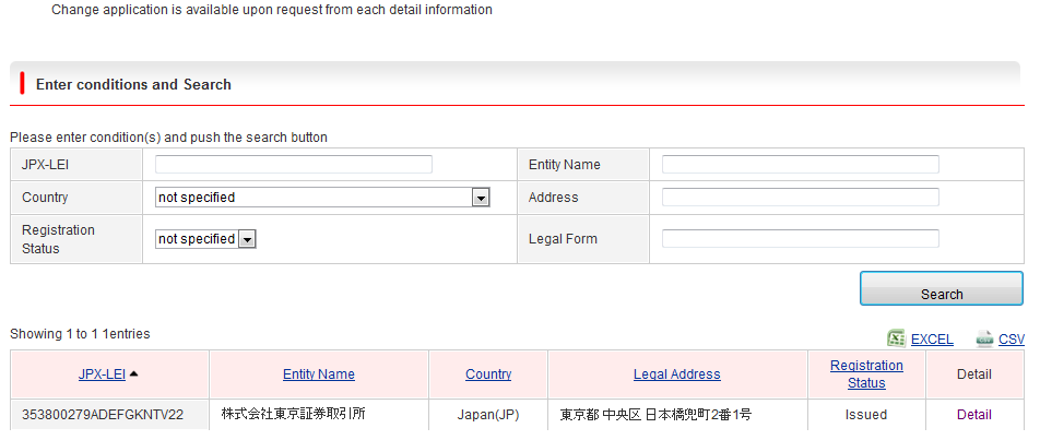 JPX-LEI Applicant<Application for changes to registered data>