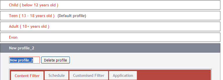 CREATE/EDIT PROFILES You can create or edit your profile settings. Go to Create/Edit Profiles in the left menu tab. To add a new profile Under the Internet Filter header, click Create/Edit Profiles.