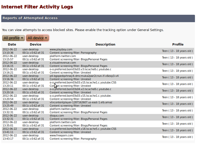 VIEW ACTIVITY LOGS Viewing activity logs You can see records of attempts to access blocked websites. To view these logs, click View Activity Logs on the left hand side panel.