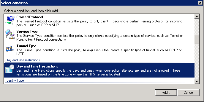 3. Under the Conditions Page Click Add Figure 12. Screenshot of Specify Conditions dialog 4.