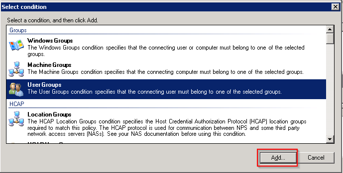 3. In the Specify Conditions dialog box Click Add Figure 18. Screenshot of the Specify Conditions dialog box 4.