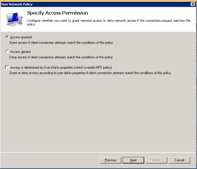 8. In the Specify Access Permission Select Access granted Click