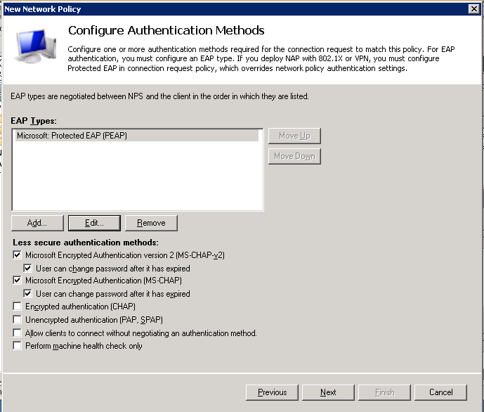 9. In the Configure Authentication Methods dialog: a. In the EAP Section, click add b. Select Microsoft: Protected EAP (PEAP) c. Click OK d.