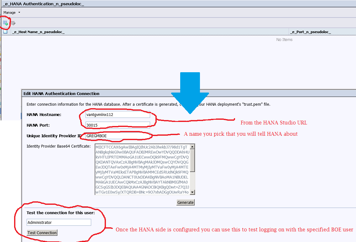 Configuration in the CMC Enter HANA server details Generate a certificate on the BI side to import into the HANA