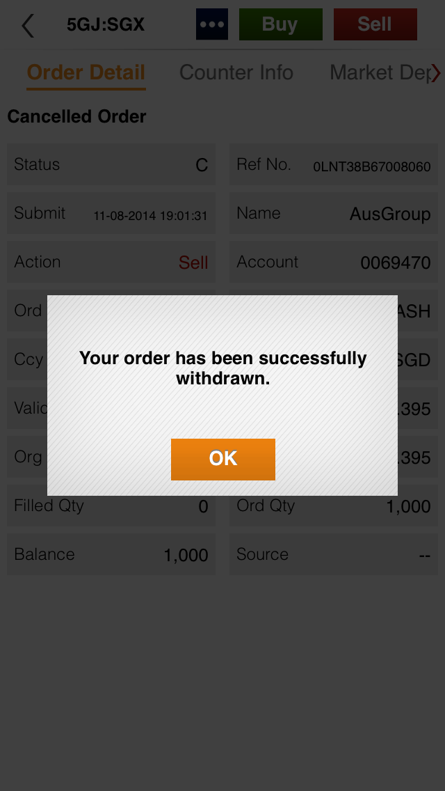 The following message will appear when your withdrawal is successful.