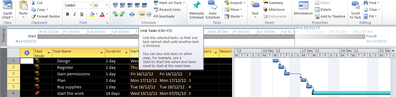 Highlight the tasks you wish to link and click link tasks In Gantt Chart View (Click View tab and Gantt chart) you can add Recurring tasks, click on Tasks > Recurring task> fill in the details, name