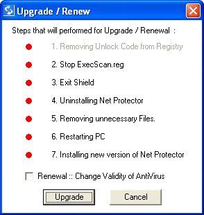Figure 1.7 Installing Net Protector Directly If you select No, then it will Abort the Installation process and stop the installation. Select Yes, it will show following message. Select Upgrade button.