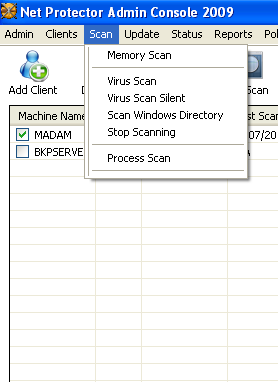 Scan Scan option has following six submenus. Refer to window below. Figure 3.1 Scan & its Sub Menus 1. Memory Scan On Memory Scan option, it will scan selected Client Machines memory.