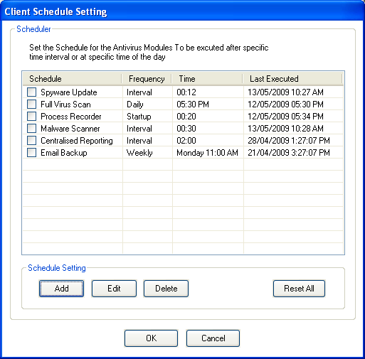 Set Schedule Set schedule allows setting NPAV scanning schedule at a client PC. By default Scheduler, gives schedule of six processes.