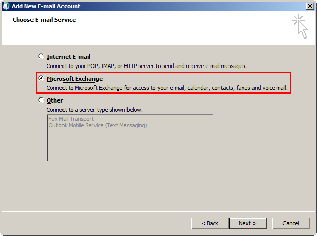 Use Outlook 2007 to connect to your Exchange mailbox The process for setting up Outlook 2007 is virtually identical to that given above for Outlook 2003 with the exception that Outlook 2007 will