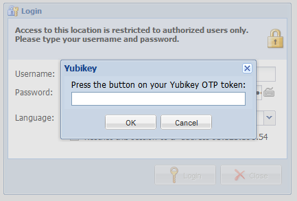 Logging in with Yubikey From now on, you will have to use