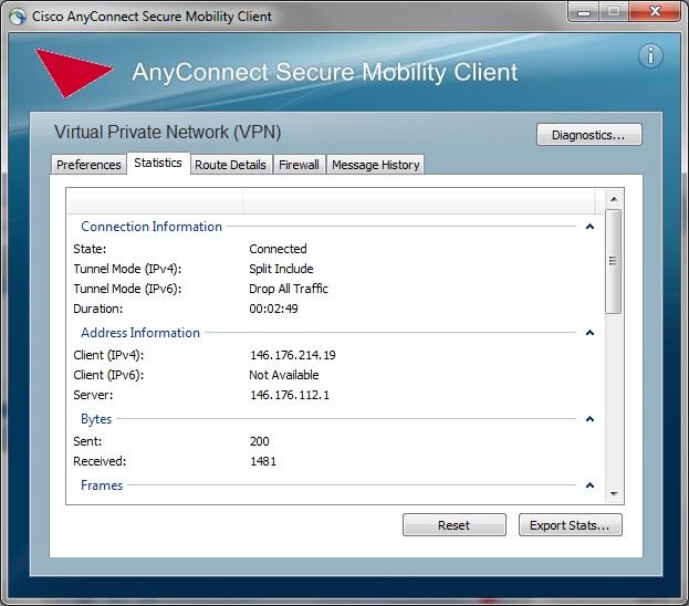 VPN Client Login/Connection Troubleshooting To help Information Services resolve AnyConnect login/connection problems, use the AnyConnect client Diagnostic and Reporting Tool (DART).