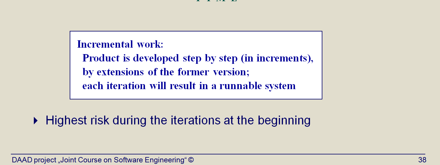 In the iterative approach, the waterfall is applied to a single increment of the system at a time. Each iteration produces an executable.