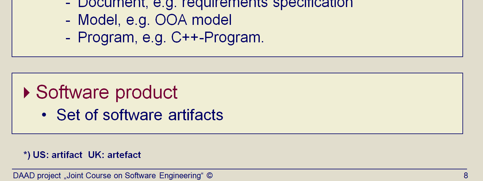 Title: Software artifacts (Topic03 Slide 8). US: artifact UK: artefact This is a supplement to the preceding slide: The term of software artifact is being considered.