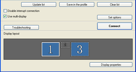 "Using Multi-Screen Display 31 B Click ""Connect"". The image allocated to each projector is projected."
