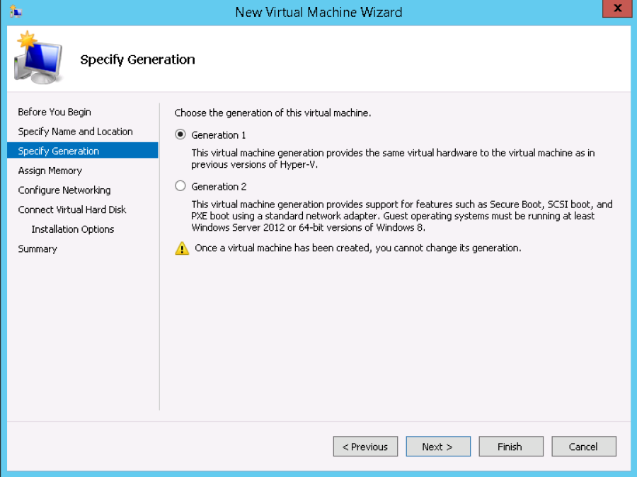 2. Creating the new virtual machine on Hyper-V On your Hyper-V Manager create a new virtual machine and then