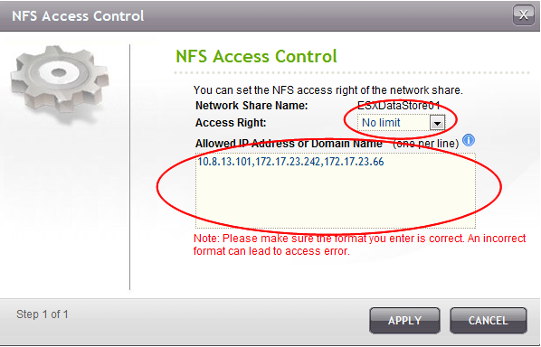 "Set ""no limit"" access right for the NFS share and allow all IP to connect. However, for higher security (though necessary), you may select to allow only ESX Servers to connect to your NFS datastore."