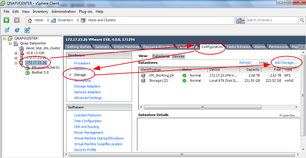 Step 3: Mount the NFS share folder as a Datastore Once your share folder has been created and the NFS security has set up, you can add the new datastore with your vsphere client.