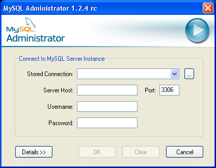 20 1. Setting up MySQL Administrator 2. Setting up the Database 4.2.1 Setting up MySQL Administrator When you start MySQL Administrator for the first time then you will see a window similar to this: