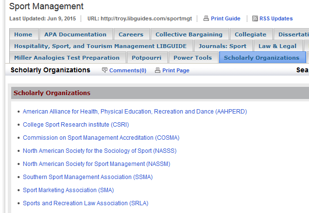 TROY UNIVERSITY LIBRARY: Sport Management 6 III. LIBGUIDES Research assistance, subject guides, and useful resources compiled by your friendly librarians. Know what we know find it in LibGuides!