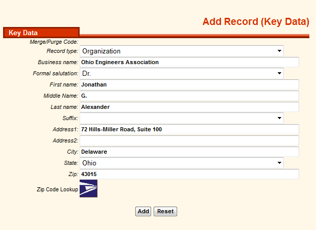 Add an Organization Record Click to add a new record. It is important to choose a Record type equal to Organization in the Record type Drop-down.