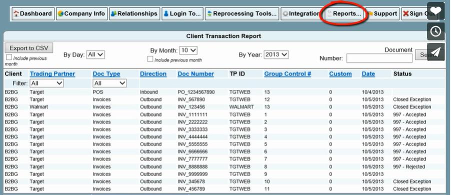 TRANSACTION REPORTS Under the reports tab in the Client Portal the client can view all transactions