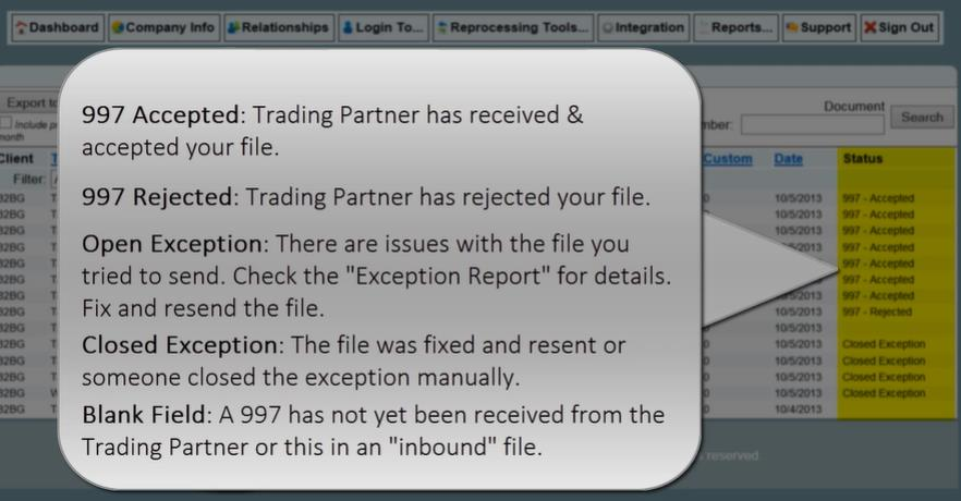trading partner has received and accepted the file Receipt