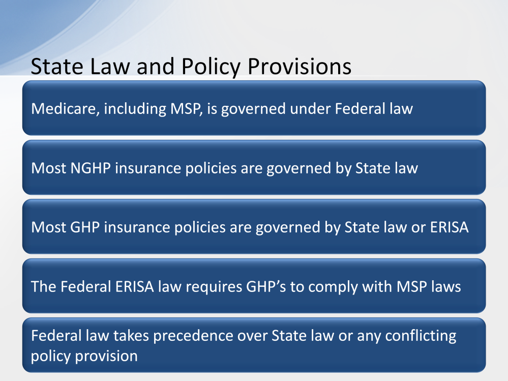 In the Introduction to Medicare CBT, you learned that Medicare is a health insurance system created under Federal law. MSP is also governed by Federal law. Most Non- Group Health Plan policies, i.e., Liability, No-Fault, and Workers Compensation are governed by State law.
