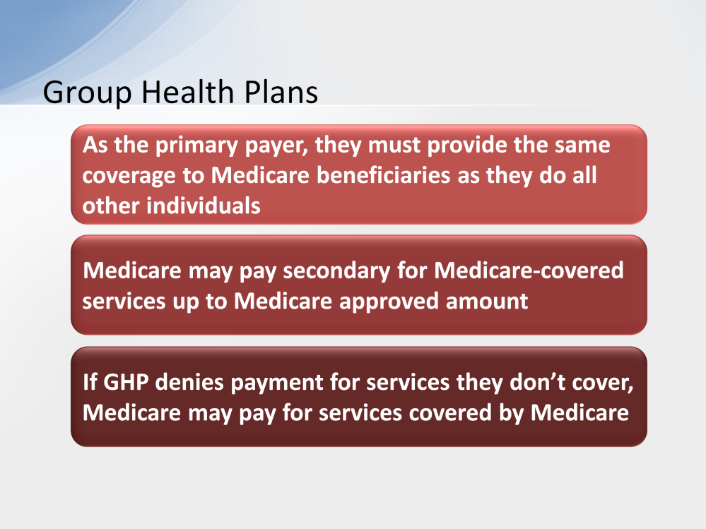 As the primary payer, the GHP must provide the same coverage to Medicare beneficiaries as they do to all other individuals.