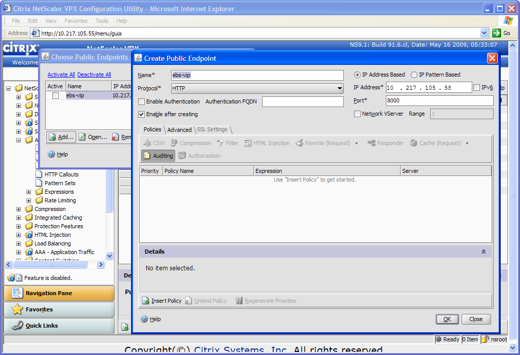 To activate the Virtual Interface for the Oracle EBS 12.1 template, select Configure Public Endpoints.