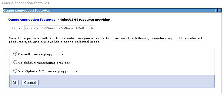 Next, a queue connection factory is needed. To create one, go to Resources JMS - Queue connection factories, click the New button and select the Default messaging provider option.