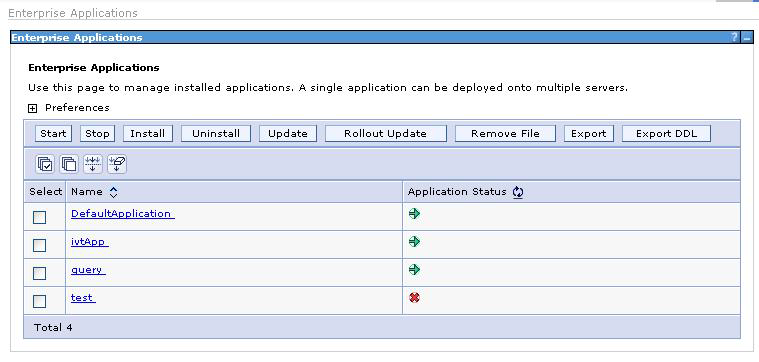 Figure 22 Enterprise applications If the start process is successful, the application can be accessed through the port 9080 using the following connection string: