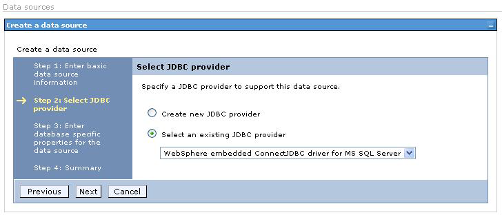 Figure 8 New authentication alias In the second step of the wizard, select the JDBC provider.