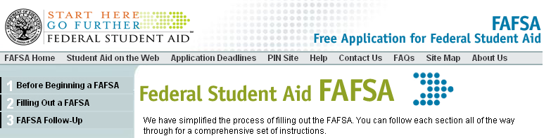 FAFSA: Free Application for Federal Student Aid Web site: www.fafsa.