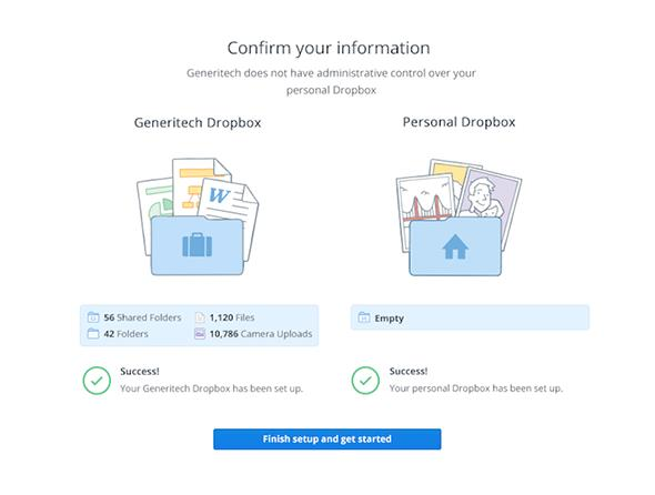 Service migration. As part of onboarding, existing basic or Pro Dropbox users are asked to specify if pre-existing data should move to a new personal account or work Dropbox account.