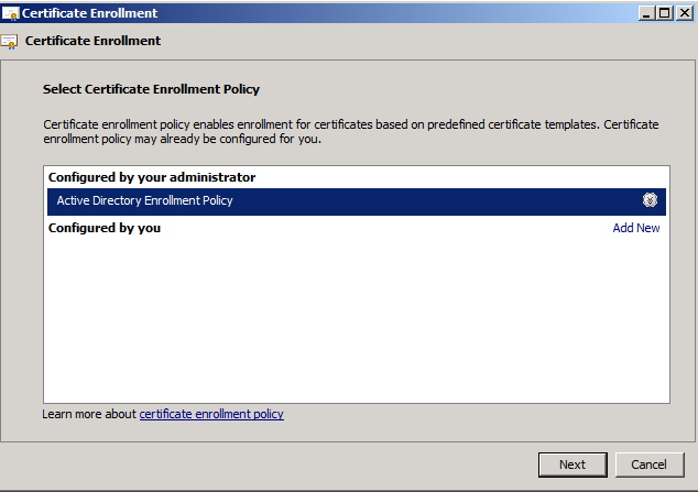 11. On the Certificate Enrollment screen, click Next. 12. Click Next again. 13.
