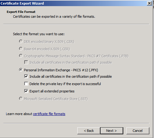 The Certificate Export wizard opens. 18. Click Yes, export the private key and then click Next. 19.