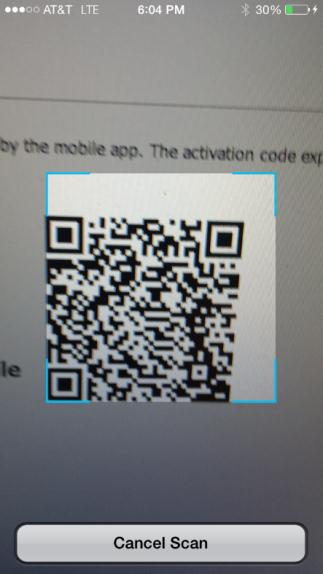 The system generates an Activation Code, URL, and scan barcode. 8. On your mobile device, do one of the following: Enter the Activation Code and URL. The Activation Code expires after 10 minutes.