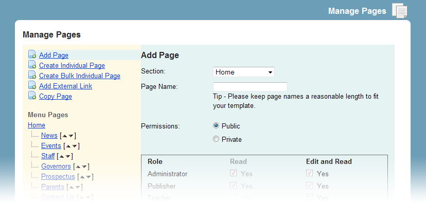 The second option for adding pages is to create a page which doesn t appear as a sub menu or main menu item.