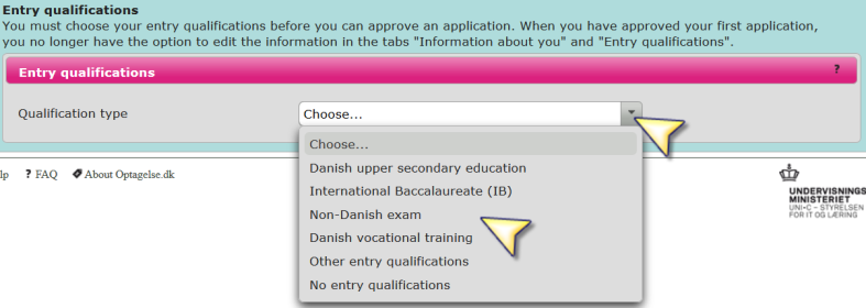 3 Entry qualifications In this section of Optagelse.dk, you will need to give information about your entry qualifications, on which you are basing your application for higher education.