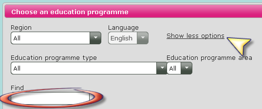 4.1 Finding your education choices You can choose the Professional bachelor programmes here. In the next box you can choose the area of education.