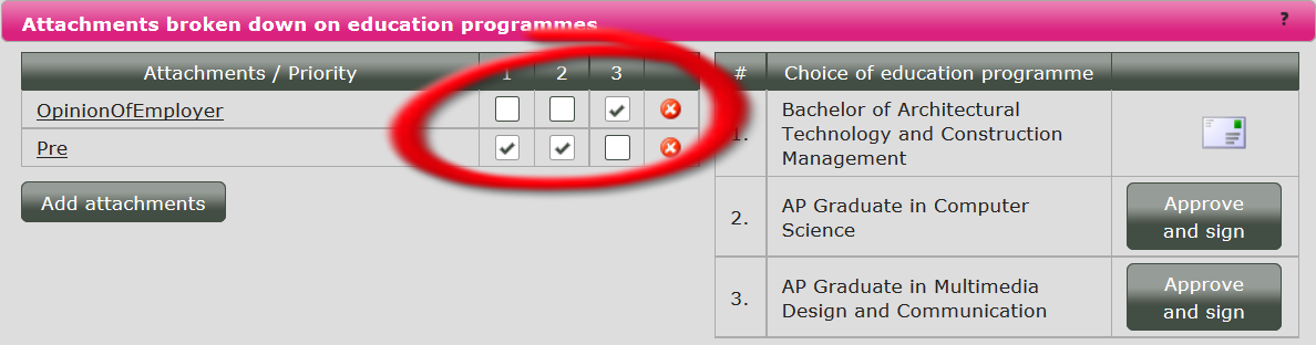 You can delete documents from individual choices of programme by unticking the relevant box for that choice.