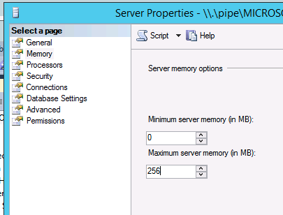 Adjust memory usage settings for Windows Internal Database Launch SQL Server Management Studio and Run as an Administrator if it is not already running. Connect to the server. Right click on \\.