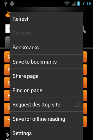 Browser Menu The browser menu offers additional options to expand your use of the Web on your device.